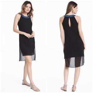 WHBM Embellished Neck Black Woven Overlay Dress